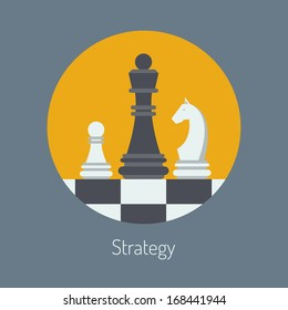 Flat design modern vector illustration concept of business strategy with chess figures on a chess board. Isolated in round shape on stylish color background