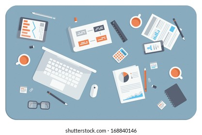 Flat design modern vector illustration concept of teamwork analyzing project on business meeting. Top view of desk background with laptop, digital devices, office objects with papers and documents.