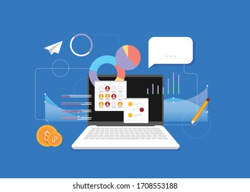 Flat design modern vector illustration concept of poster on business management or finance workflow theme. Isolated on stylish color background.