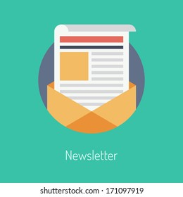 Flat design modern vector illustration concept of regularly distributed news publication via e-mail with some topics of interest to its subscribers. Isolated on stylish color background.