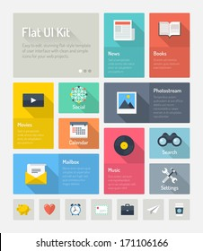 Flat design modern vector illustration concept of minimalistic stylish infographic webpage elements with icons set or abstract metro user interface kit with simple navigation for web project.