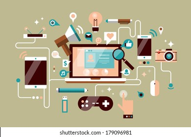 Flat design modern vector illustration info graphic concept with icons of social network, social media, gaming, marketing, user interface, web analytics elements. Isolated on stylish background.