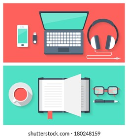 Flat design modern vector illustration concept of icons set of online education and studying objects
