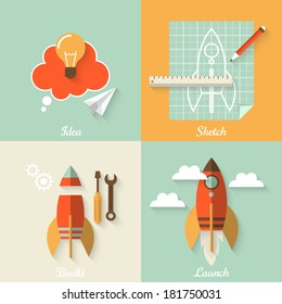 Flat design modern vector illustration concept of new business project startup development and launch a new innovation product on a market
