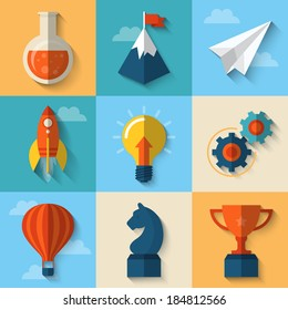 Flat design modern vector illustration concept of icons for start up