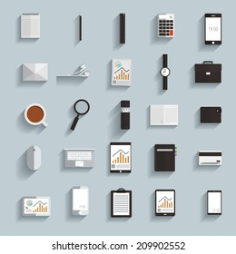 Flat design modern vector illustration icons set with long shadow .