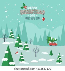 Flat design modern vector illustration for Christmas holiday. Merry Christmas greeting card design