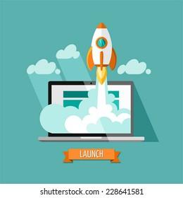 Diseño plano, concepto moderno de ilustración vectorial de nuevo desarrollo de proyectos de negocio y lanzamiento de un nuevo producto de innovación en un mercado.