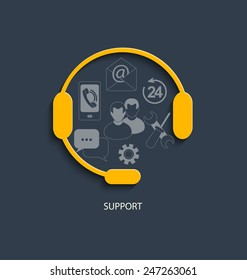 Flat design modern vector illustration concept for customer support service.