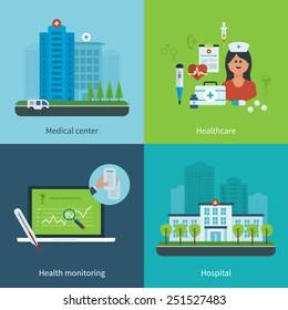 Flat design modern vector illustration concept for medical care, healthcare, health monitoring, medical center and hospital building