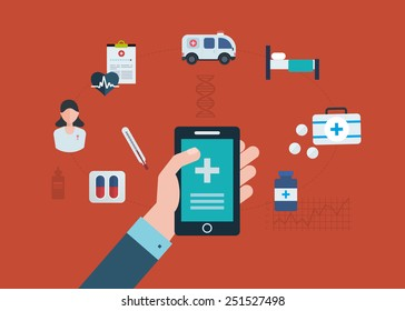 Flat design modern vector illustration concept for medical care, online medical diagnosis and first aid
