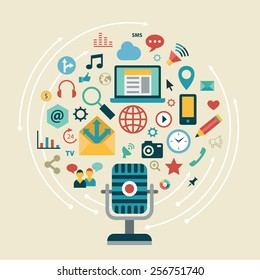 Flat design modern vector illustration info graphic concept with icons of social network, social media, gaming, marketing, user interface, web analytics elements.