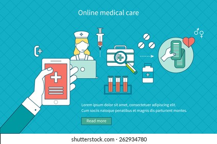 Flat design modern vector illustration concept for medical care, online medical diagnosis and first aid. Thin line icons