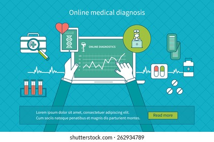 Flat design modern vector illustration concept for health care and online diagnosis. Healthcare system concept. Thin line icons