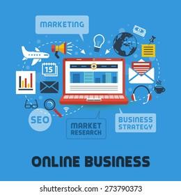 Flat Design Modern Vector Illustration Concept Of Online Business