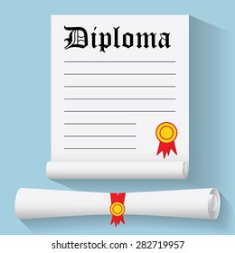 Flat design modern vector illustration of Degree Scroll with Red Ribbon and Diploma, on color background.