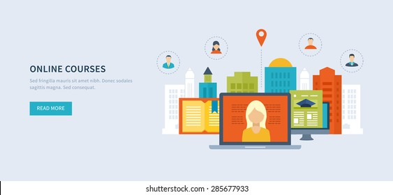 Flat design modern vector illustration icons set of online education and online training courses, specialization, university, tutorials. School and university building icon. Urban landscape.