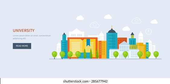Flat design modern vector illustration icons set of global education, online training courses, staff training, specialization, tutorials. School and university building icon. Urban landscape.