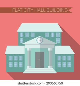 Flat design modern vector illustration of city hall building icon, with long shadow on color background.