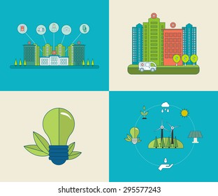 Flat design modern vector illustration concept for healthcare, medical center and hospital building, ecology, environment and eco-friendly energy. Thin line icons.