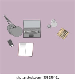 Flat design modern vector illustration. Top view of desk background with laptop, digital devices and office objects.