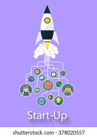 Flat design modern vector illustration concept of new business project startup development and launch a new innovation product on a marke. Rocket related to some icons. beautiful style and color.