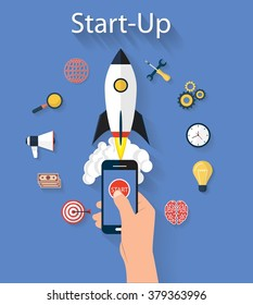 Flat design modern vector illustration concept of new business project startup development and launch a new innovation and bright product on a marke. Rocket launching icons. beautiful style and color.