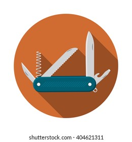 Flat design modern vector illustration of multifunctional pocket knife icon, camping and hiking equipment with long shadow.