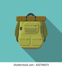 Flat design modern vector illustration of tourist backpack icon, camping and hiking equipment with long shadow.