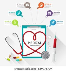 Flat design modern vector illustration for health and medicine in medical infographic