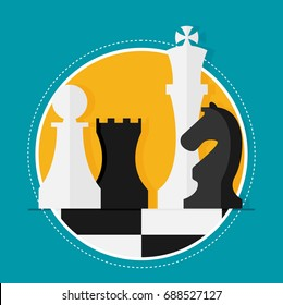 Flat design modern vector illustration concept of business strategy with chess figures on a chess board.