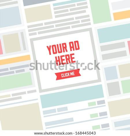 Flat design modern vector illustration concept of the abstract website page background with simple banner advertisement place and text for your ad here. Online advertising internet concept.