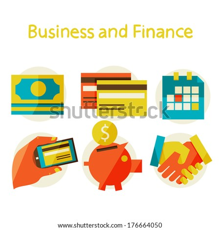 Flat design modern vector illustration in stylish colors. finance and business concept.