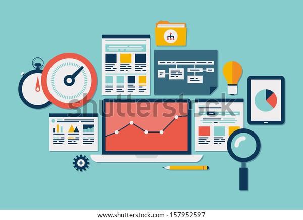Flat design modern vector illustration icons set of website SEO optimization, programming process and web analytics elements. Isolated on stylish colored background