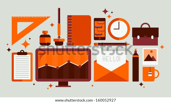Flat design modern vector illustration icons set of style office workflow equipment with various office tools and business objects for personnel to work. Isolated on stylish olive background