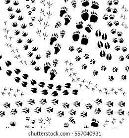 Flat design monochrome seamless pattern with various animals and birds tracks on white background vector illustration
