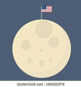 Flat Design of a Moon with a flag of US. Cosmic Space. Humanity. Astronomy.