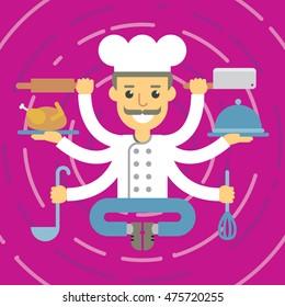 Flat design multitasking cook character in meditation pose.