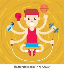 Flat design multitasking fitness trainer character in meditation pose.