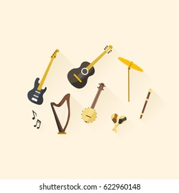 Flat design musical instruments. Vector illustration.