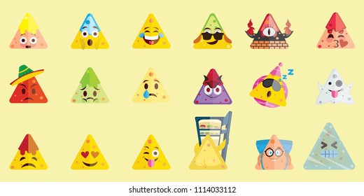 Flat design nachos mega set emoji isolated on light background. Illustration of Mexican food with cute emotional faces. Vector set of funny popular emoji emoticon icon set