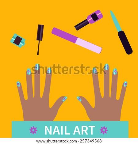 Flat Design Nail Art Flat Banner Stock Vector Royalty Free