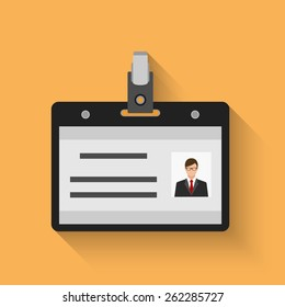 Flat design name tag badge template with shadow