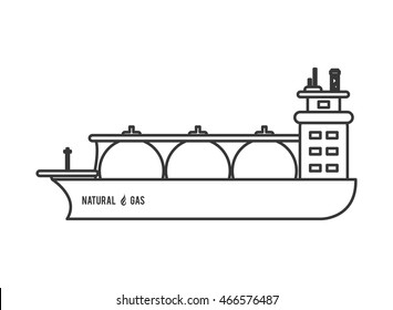 flat design natural gas ship icon vector illustration