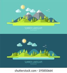 Flat design nature landscape illustration with sun, hills and clouds