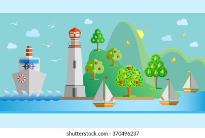Flat design nature landscape illustration with port, lighthouse, steamer, sailing boat, seagulls, sun, fruit trees and sea. Vector illustration.