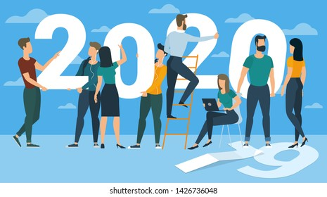 Flat design New Year vector concept. Preparing to meet 2020 new year. Business people building the numbers 2020. Company team are preparing to meet the new year over clear blue sky background.