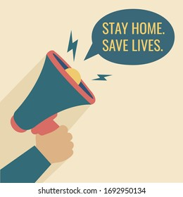 flat design news Massage & announcement. human hand hold loudspeaker vector. announce Megaphone stay home save lives stay safe from coronavirus outbreak pandemic graphic isolated cartoon illustration