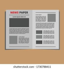 Flat design news paper template vector