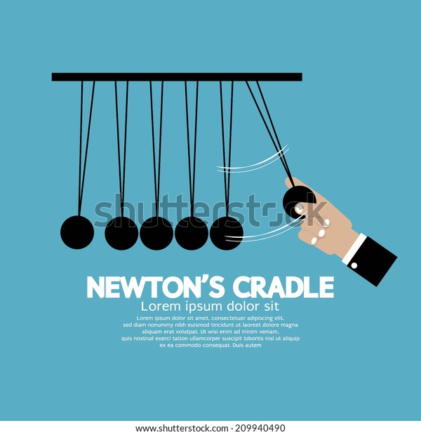 Flat Design Newton's Cradle Vector Illustration